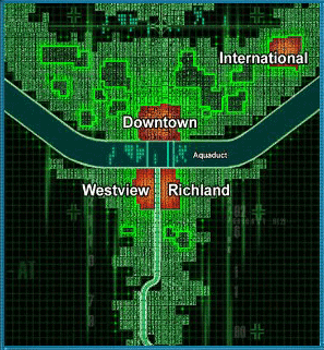 A map of Mega City later provided to the designers of the game The Matrix Online by The Wachowskis splits the city into four main districts Downtown, International, Richland and Westview